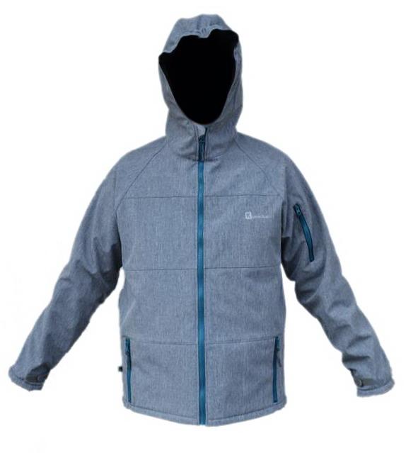 2f7c8a0620d Pánská softshellová bunda melírovaná šedá s petrolejovými doplňky-výprodej