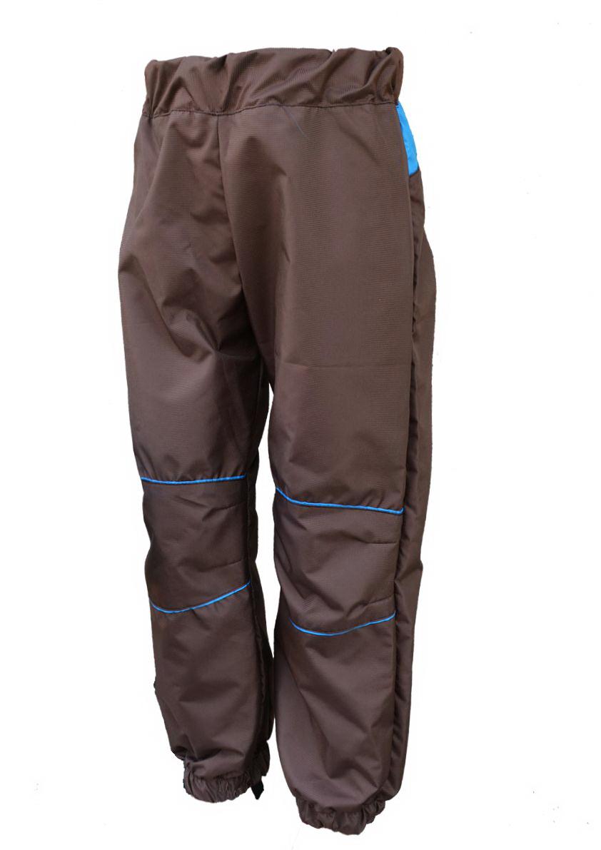 Dětské šusťákové kalhoty   hnědo-tyrkysové empty eefd49e66b