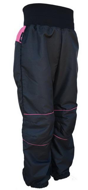 Dětské šusťákové kalhoty   černo-malinové empty 31855ef642