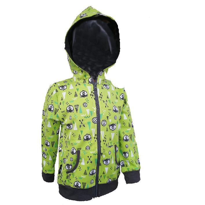Dětská tepláková mikina na zip / zeleno-šedá